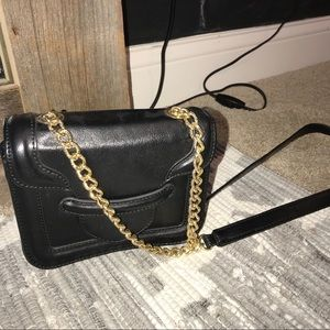 Black leather side purse